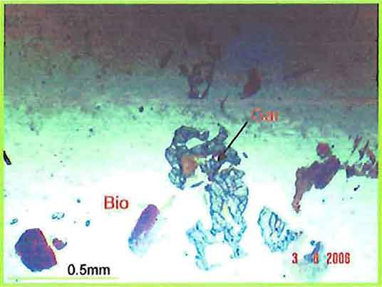 Garnet And Biotite Flakes In Alkali-Syenite Pegmatite photomicrograph image