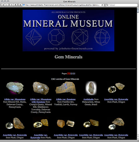 Online Mineral Museum screenshot image