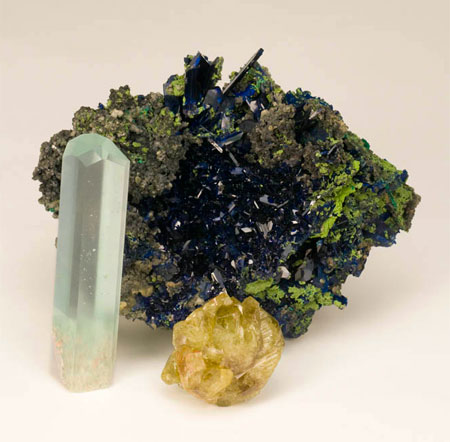 Azurite, Aquamarine, and Chrysoberyl photo image