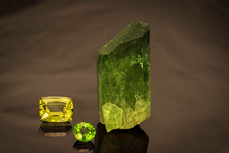 Diopside Rough & Cut photo image