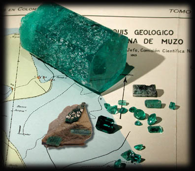 Emeralds Rough and Cut photo image