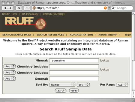 RRUFF Database Search Form screenshot