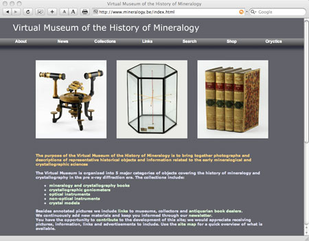 Virtual Museum web page image